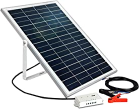 ECO-WORTHY 25W 12V Solar Panel Kit: Portable Solar Panel + Charge Controller with USB Port + U Shaped Mount Bracket + 30A Battery Clip for Car Battery Charging,Camper,RV,Boat,Yacht