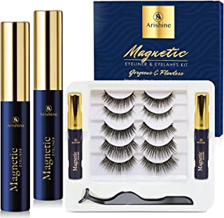 5 Pairs Reusable Magnetic Eyelashes and 2 Tubes of Magnetic Eyeliner Kit, Upgraded 3D Magnetic Eyelashes Kit With Tweezers...