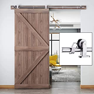 EaseLife 6.6 FT Modern Stainless Steel Sliding Barn Door Hardware Track Kit,Top Mount,Anti-Rust,Slide Smoothly Quietly,Easy Install,Fit 36