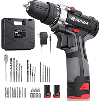 "Cordless Drill Set, 12.8V Portable Drill Driver 2x3900mAh Batteries, 31 Pcs Accessories, 25+1 Clutch, 2/5"" Keyless Chuck, 249 In-lb Torque, 2 Speeds, LED Light, Carrying Case Drilling Wall Brick Wood"