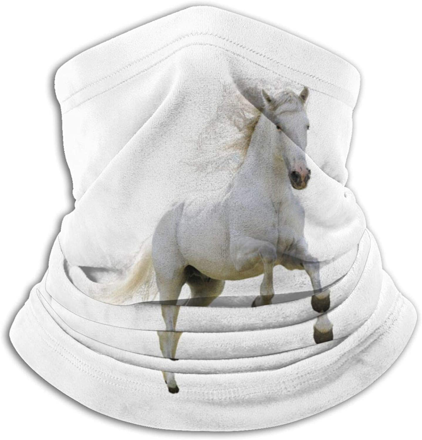 Winter Neck Gaiter Warmer Soft Face Mask Scarf Oil Painted Galloping Horse Outdoor Sports Neck Warmer Headwear for Men Women Black