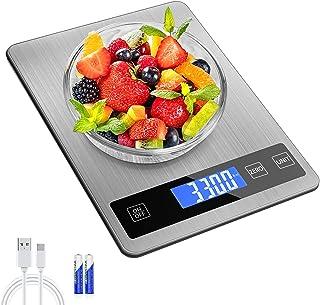 Balance Cuisine Numérique Electronique, 15kg/33lb Balance Alimentaire de Précision 1g ,Acier Inoxydable Batterie ou Charge...