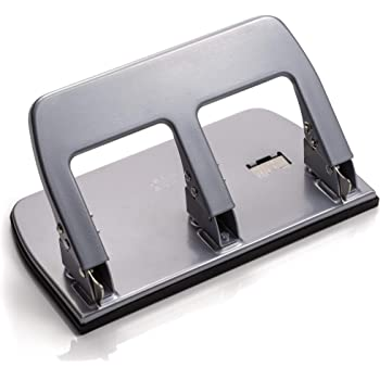 Silver 30 Sheet Capacity Officemate Medium Heavy Duty Three-Hole Punch Ergonomic Handle Pack of 2 90086