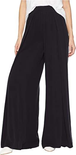 Sandwashed Twill Pleat Front Wide Leg Pants