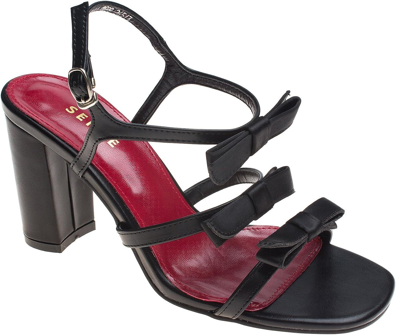 AnnaKastle Womens Satin Bow Front Strappy Block Heel Sandal