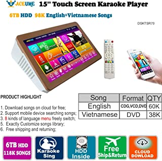 6TB HDD,98K Vietnamese+ English Songs, 15'' Touch Screen Karaoke Player, Multilanguage Menu and Fast Search.