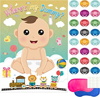 FEPITO Baby Shower Party Games, Pin The Dummy on The Baby Game with 24Pcs Pacifier Stickers for Baby Shower Party Supplies