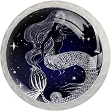Lade Handgrepen Kabinet Knoppen Rond Een Pack van 4 Lade Knoppen, Galaxy Mermaid Moon