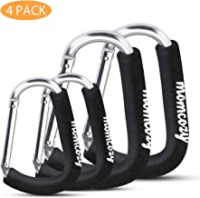 Stroller Hooks, Momcozy 4 Pack Stroller Accessories, X-Large Baby Stroller Hook Clip for Purse Shopping & Diaper Bags, Fit for Stroller Like Uppababy, Jogger, Britax, Bugaboo, BOB, Pushchair, Buggy