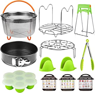 Aiduy Pressure Cooker Accessories Set Compatible with Instant Pot 6,8 Qt-12 Pieces,Steamer Basket, Springform Pan, Egg Bites Mold, Egg Steamer Rack, Steamer Trivet, Kitchen Tongs, Oven Mitts, 3 Cheat