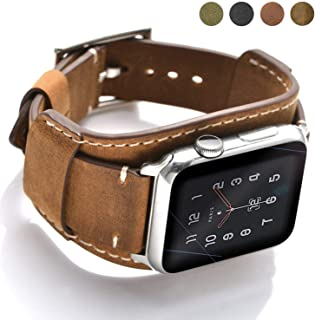 Coobes Compatible with Apple Watch Band 40mm 38mm Men Women Genuine Leather Compatible iWatch Bracelet Wristband Strap Compatible Apple Watch Series 5/4/3/2/1 (Crazy Horse Cuff Brown, 40/38 mm)