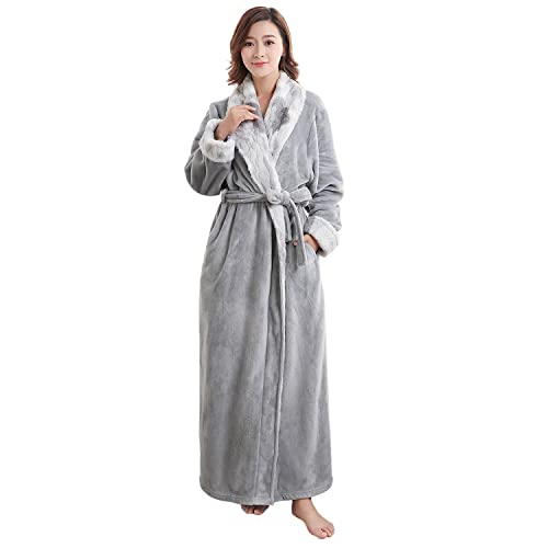 Teenloveme Womens Luxury Soft Fleece Bathrobe Dressing Gown Belted Bath Robe  Housecoat Full Length 8df86c98b