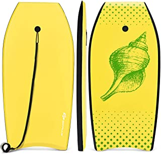 Goplus Super Lightweight Bodyboard, 37-41 inch Body Board with EPS Core, XPE Deck, HDPE Slick Bottom and Premium Wrist Leash, for Sea, Beach, River, Pool, Perfect Surfing for Kids Teens and Adults
