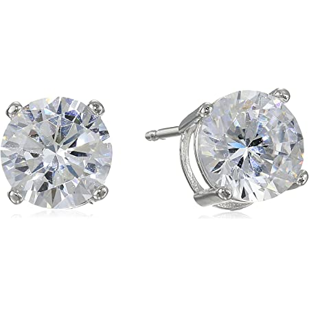 Platinum Plated Silver White Cubic Zirconia Illusion Set Womens Stud Earrings HBHB14E0346A-CR