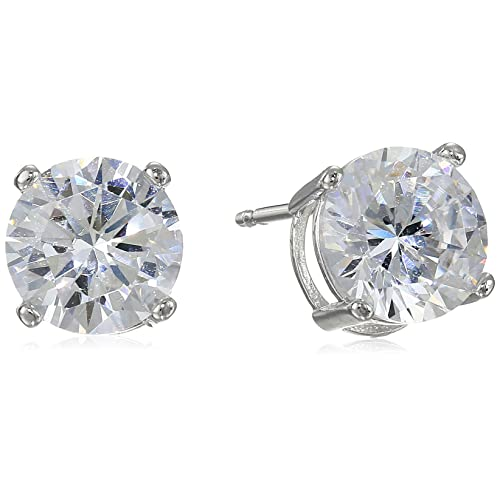d211bfa75 Amazon Essentials Plated Sterling Silver Cubic Zirconia Stud Earrings  (Round & Princess)