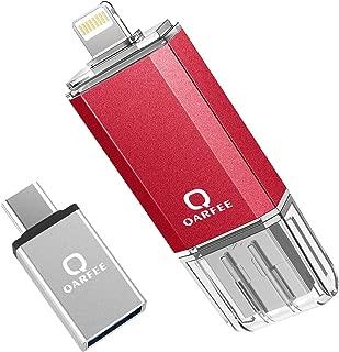 Qarfee フラッシュドライブ USB メモリー 128GB iPhone/PC/Android 3in1 専用アプリ OTG Type- C変換アダプター付属 (128GB, レッド)