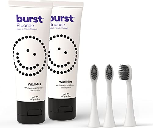 high quality BURST lowest Whitening Toothpaste for discount Sensitive Teeth with Fluoride with BURST Replacement Electric Toothbrush Heads, White [Packaging May Vary] online