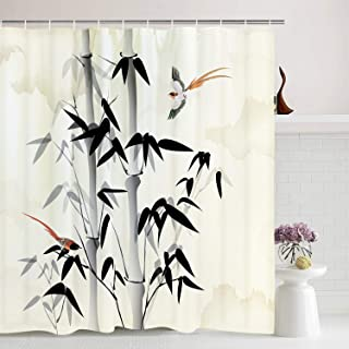 BLEUM CADE Bamboo Shower Curtain Traditional Bamboo Leaves Vintage Artprint Bathroom Curtain Bird Shower Curtain with Hooks