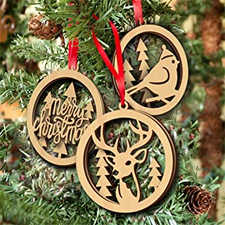 Ree Engraved Wooden Xmas Tree Ornament 3pcs Set Christmas Decorations