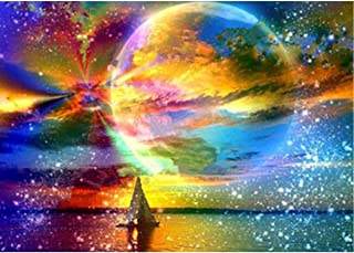 MXJSUA DIY 5D Diamond Painting by Number Kits Full Round Drill Rhinestone Picture Art Craft Home Wall Decor Coloured Moon Starry Sky 30x40 cm