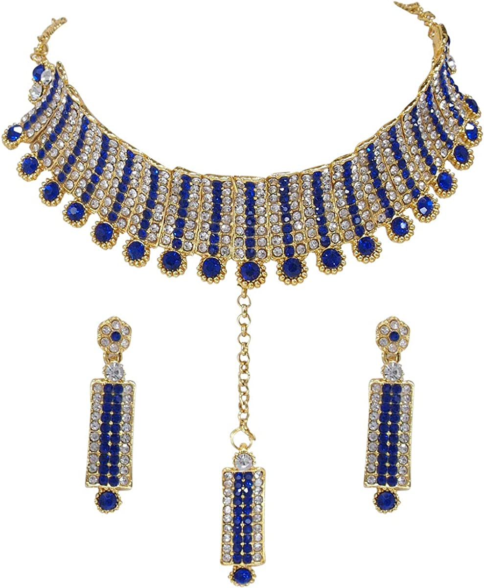 CROWN JEWEL Indian Designer Bollywood Gold Plated Fashion Bridal Jewelry Necklace Earring Set for Women