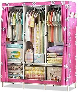 Liuyu Armoire double en tissu avec tube en acier pour chambre à coucher, vêtements à suspendre Couleur : rose