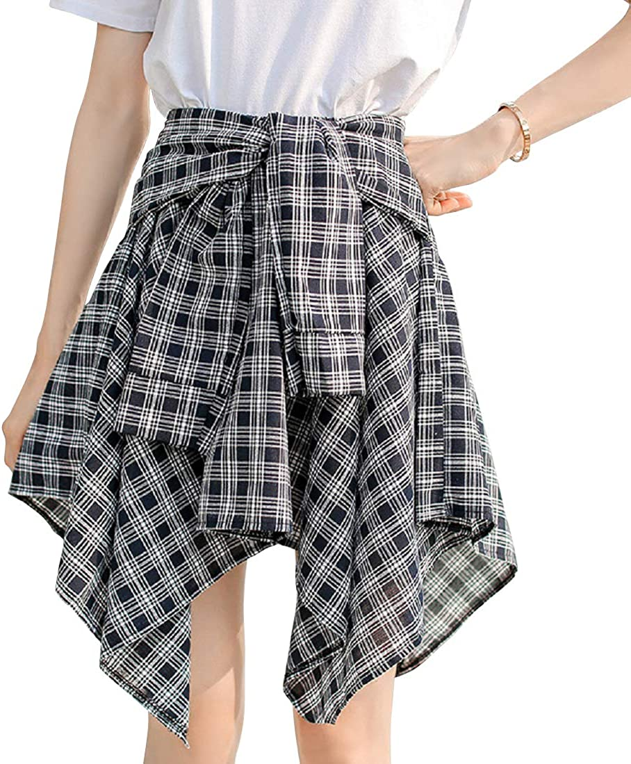 CHARTOU Women's Sweet Elastic Waist Twist Tie Irregular Plaid Pleated Mini Skirts