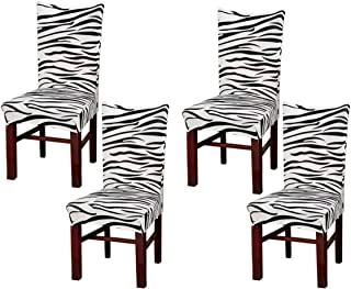 Beyonder Super Fit Stretch Removable Washable Short Dining Chair Cover Protector Seat Slipcover for Hotel,Dining Room,Ceremony,etc (4Pcs Zebra)