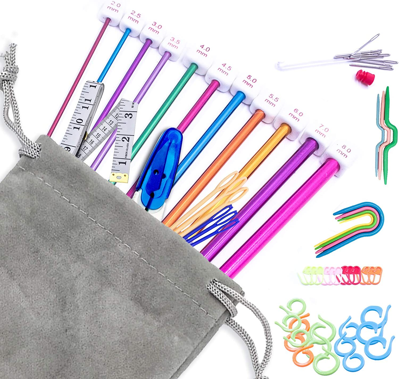 OFFer 76pcs Tunisian Afghan 2021 Crochet Hooks 2.0-8.0mm Size 11 Alumin Set