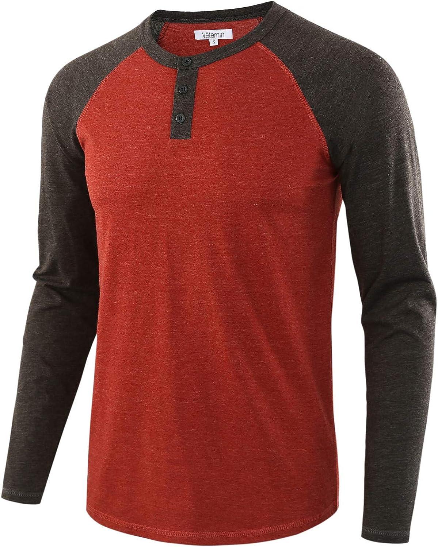 Vetemin Max 48% OFF Men's Casual Vintage Long Raglan Outstanding Ba Sleeve Henley Shirts
