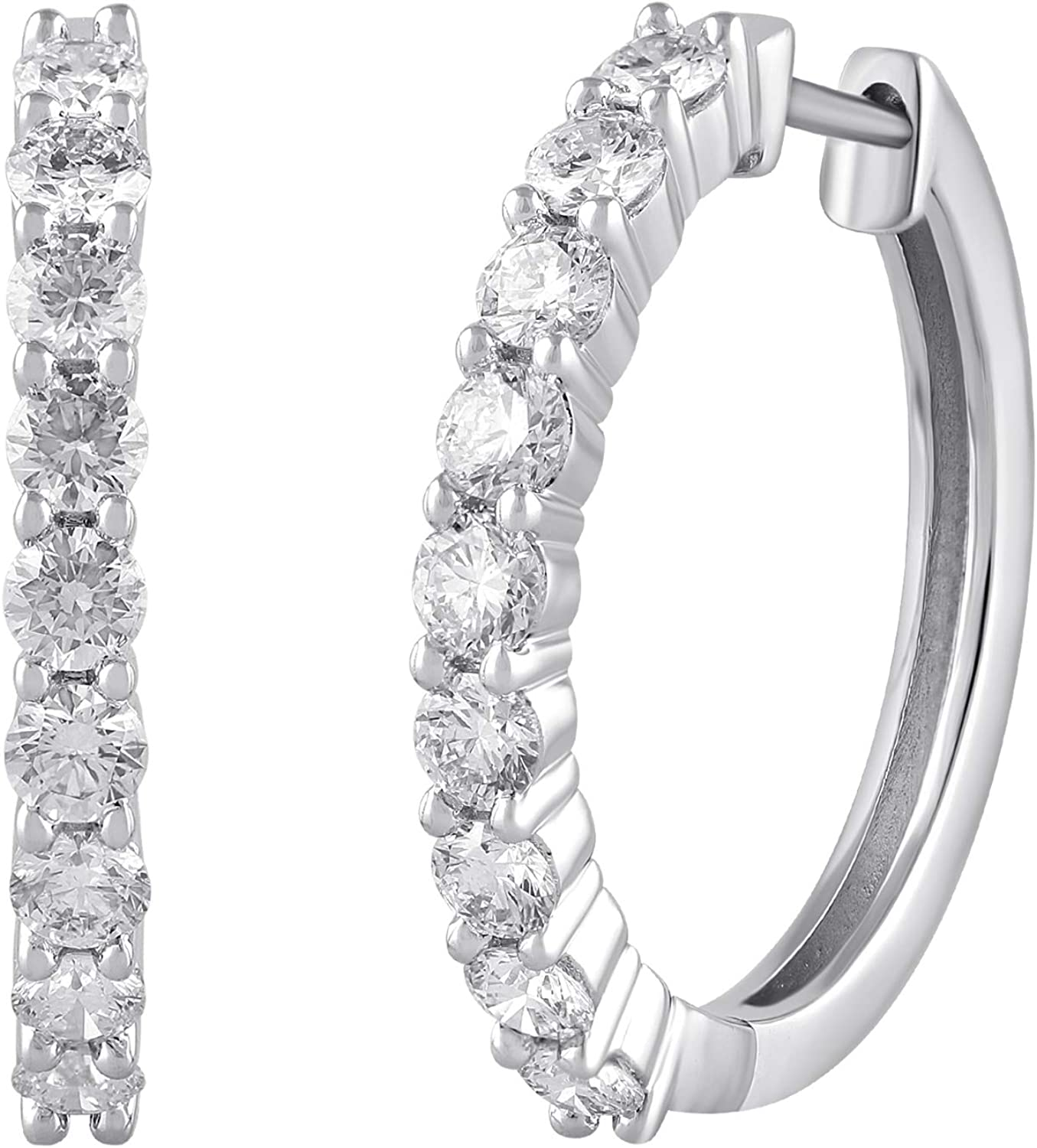 Quantity 55% OFF limited White Gold Hoop Earring In Brilliance Ea by Diamonds Grown