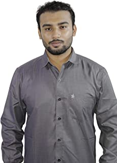 Spanish One Look Mens Long Sleeve 100% Cotton Regular Fit Button Down Casual Shirts Dress in Grey Plain Shirt for Men