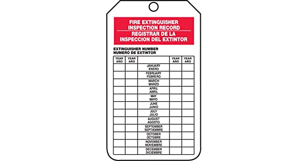 PF-Cardstock Accuform Signs SBTRS217CTP Spanish Bilingual Fire Extinguisher Tag Legend FIRE EXTINGUISHER INSPECTION RECORD// REGISTRAR DE LA INSPECCION DEL EXTINTOR 5.75 Length x 3.25 Width x 0.010 Thickness Pack of 25 Red// Black on White