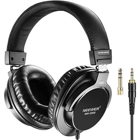 Neewer NW-3000 - Auriculares de Estudio Cerrados de 10 Hz - 26 kHz Ligeros con Cable de 3 Metros, Conectores de 3,5 mm y 6,5 mm, bajo Ruido para apreciar música, Ver películas, Jugar Juegos, Grabar