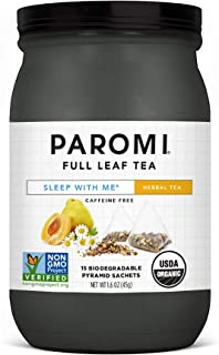 Paromi Tea Organic Sleep with Me Caffeine-Free Herbal Tea, 15 Pyramid Tea Bags - Non-GMO