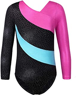 TFJH E One-Piece Sparkle Gymnastics Leotard for Girls Athletic Tank Bodysuit 3-15Y