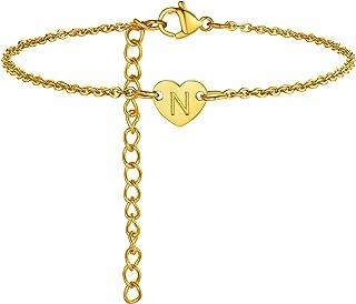 ChainsPro A-Z Heart Initial Bracelet for Women Girls, Dainty & Cute, 18K Gold Plated Monogram Bracelet (Send Gift Box)