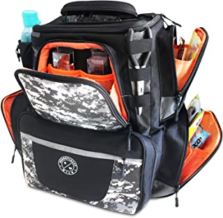 Essentially Wild Fishing Tackle Backpack Large Fishing Bag with 4 Tackle Trays Multi Functional Tackle Storage Fishing Bag/Fishing Backpack with Protective Rain Cover/Suitable for All Anglers