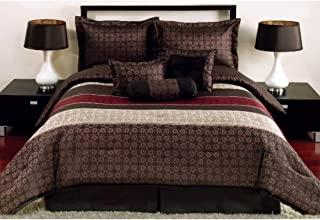 Comforter-Set. 7-Piece Home Bedding Linens for Bedroom Furniture Includes Comforter, Bed Skirt, Accent Pillows, Shams. Classic Design, Red & Brown Strip with Elegance Geometric Ornament (King)
