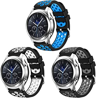 CreateGreat Compatible for Samsung Galaxy Watch 46mm,CreateGreat Gear S3 Soft Replacement Breathable Sport Bands with Air Holes and Quick Release Pin for Samsung Gear S3/Galaxy 46mm Watch(3Pack)