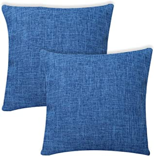 AWLEE Set of 2 Blue Throw Pillows Decorations Cotton Linen Blend Decorative Square Throw Pillow Cover, Home Decor for Sofa Party 18x18 Inch
