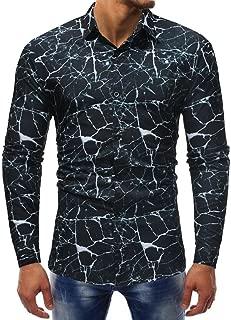 Men's Casual Shirt Pattern Crackle Printed Cool Long Sleeve Dress Collar Shirt Zulmaliu