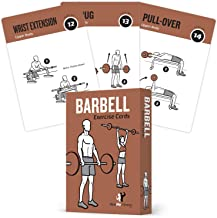 """NewMe Fitness Barbell Exercise Cards Contains 50 Barbell Exercises – Total Body Workout– Perfect for Home Workouts – Your Personal Trainer – Large Durable Waterproof 3.5""""x5"""" Cards"""