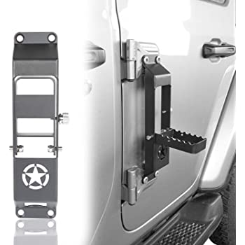 Hooke Road Jeep JK Door Hinge Steps Foot Pegs Metal Footrest Pedal Plates for 2007-2018 Jeep Wrangler JK