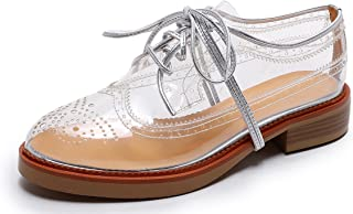 Bruno Bianci Women's Vegan Oxfords Transparent Clear Saddle Wingtip Shoes