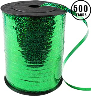 500 Yards Green Crimped Curling Ribbon Shiny Metallic Balloon String Roll Gift Wrapping Ribbon for Party Festival Art Craft Decor Florist Flowers Decoration