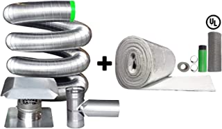 Rockford Chimney Supply Stainless Steel Flexible Chimney Liner Tee Kit, 6 Inch x 30 Feet with Blanket Insulation Kit