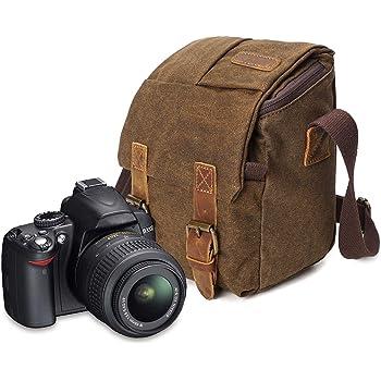 Color : K1 Khaki He-lanshangmaobu Fashion Camera case Waterproof Travel Small DSLR Shoulder Camera Bag with Rain Cover Triangle Sling Bag for Sony Nikon Canon Digital Camera