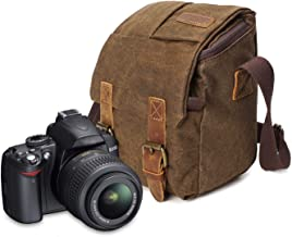 Peacechaos Compatible with/Replacement for Nikon Vintage Waterproof Canvas Leather Trim DSLR SLR Shockproof Camera Shoulder Messenger Bag­(Brown)