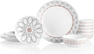 Corelle 18-Piece Service for 6, Chip Resistant Dinnerware Set, Amalfi Rosa